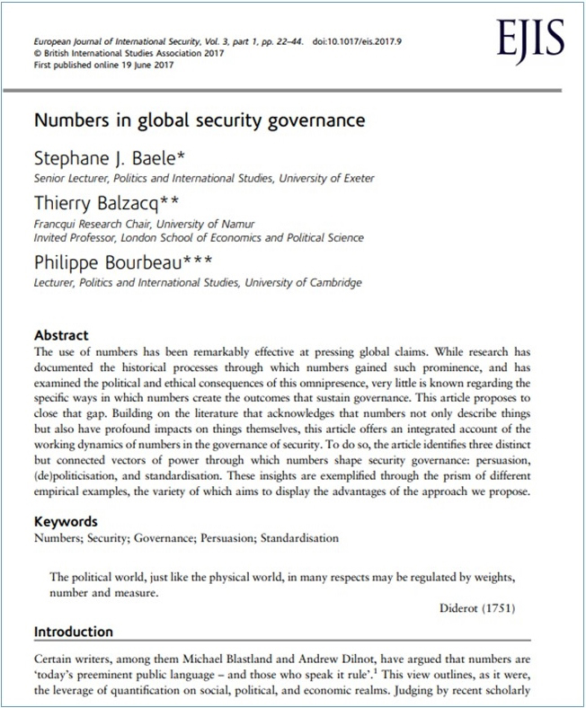 <a href='https://ore.exeter.ac.uk/repository/handle/10871/26266'>Numbers in global security governance</a>  (2017)<br /><a href='http://socialsciences.exeter.ac.uk/politics/staff/baele/'>Stephane Baele</a>